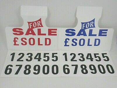 2x Car For Sale Signs Visor Hanging Price Board With Numbers (Free P&P)