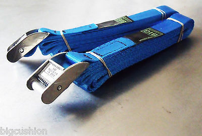 2-pack of 3-metre x 25mm Cam Buckle BLUE Endless Lashing 400kg; Cargo Straps
