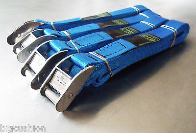 4-pack of 3-metre x 25mm Cam Buckle BLUE Endless Lashing 400kg; Cargo Straps