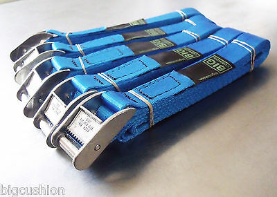 5-pack of 3m x 25mm Cam Buckle BLUE Endless Lashing 400kg; Cargo Straps