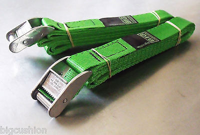 2-pack of 3.0m TOUGH Cam Buckle Straps Green - Trailer Cargo Tie-down Lashings