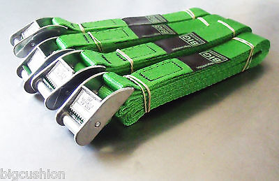 4-pack of 3-metre x 25mm Cam Buckle GREEN Endless Lashing 400kg; Cargo Straps