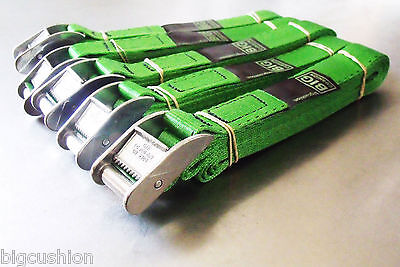 5-pack of 3-metre x 25mm Cam Buckle GREEN Endless Lashing 400kg; Cargo Straps