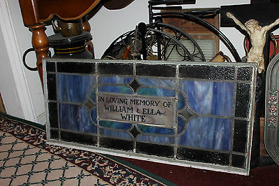 Antique Stained Glass Leaded Church Window-Religious-William & Ella White-LARGE