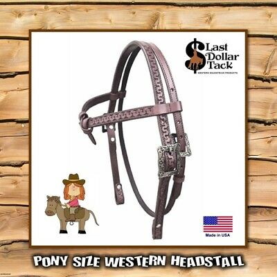 Pony Western Headstall High Quality Tooled Chocolate Leather ~ Antiqued Buckles