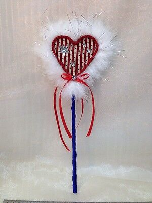 July 4th Forth Handcrafted Handmade Heart shaped Wand Gift USA Princess Special