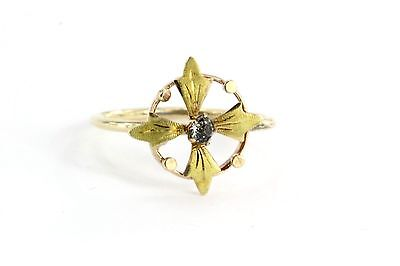 Antique 10K & 14K  Rose & Yellow Gold Art Nouveau Compass Florette Midi Ring