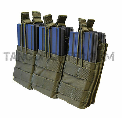 CONDOR MA44 MOLLE Triple Stacker 5.56 mm Rifle Mag Pouch pull tab Open Top OD