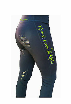 **heels Down Clothing** Riding Performance Tights**live Love Ride Print