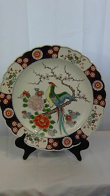 Antique Meiji Japanese Charger With Phoenix Amid Blossom Cherry&flowers,marked