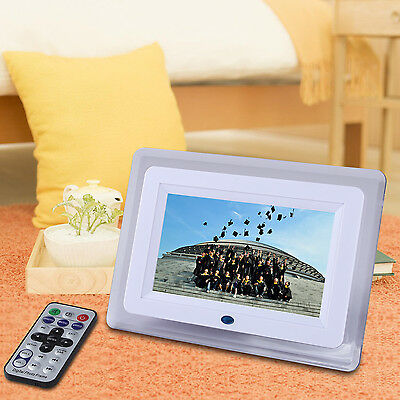 "7"" Digital Photo Frame LED Backlight Picture Video Player Remote Control White"