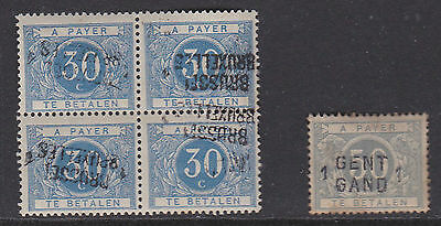 Belgique Taxe 1919. N°Tx15A Bl4 Surcharge Inversee + Tx9A Neufs [I190]
