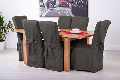 Set of 4 Slate Grey Fabric Dining Chair Covers for Scroll Top High Back Leather