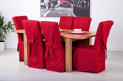 Set of 6 Red Linen Fabric Dining Chair Covers for Scroll Top High Back Leather