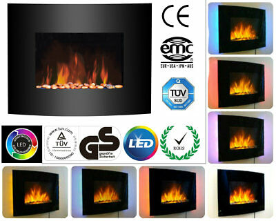 1.8kw 2kw LED Backlit Curved Glass Wall Mounted Flame Effect Electric Fire Slim