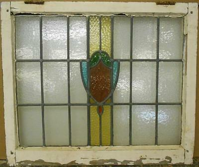 "MID SIZED OLD ENGLISH LEADED STAINED GLASS WINDOW Abstract Band 28.25"" x 24"""