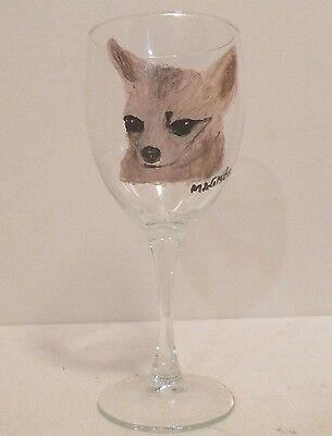 Fawn Chihuahua Wine Glass hand painted by Mary Wilson of Pet Lovers Boutique