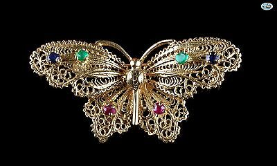 Vintage 14K Gold Butterfly Brooch with Ruby, Sapphire, Emerald Gems 7.40 Grams