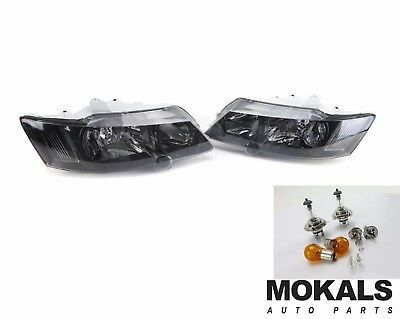 black Headlights pair for  Holden Commodore VY SS SV8 2002-2004 with free Globes