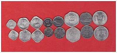 INDIA 1 3 5 10 20 25 50 Paisa 1 Rupee 1971-2001 UNC 10 COIN SETS OF 8 = 80 COINS