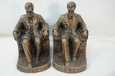 Vintage Bookends President Abraham Lincoln Signed Stern Louis 1943 Chalkware