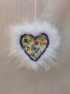 Valentines Day Handcrafted Handmade Heart Shaped Hanging Gift Butterfly Flowers