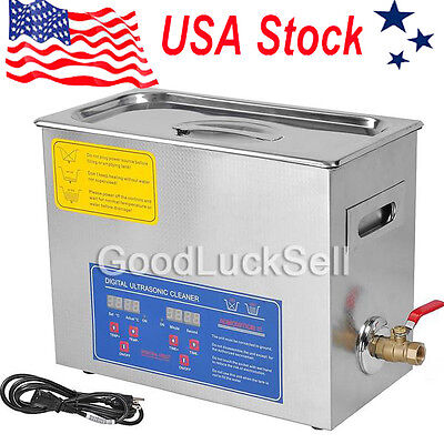 US Stainless Steel 6 L Liter Industry Heated Ultrasonic Cleaner Heater w/Timer