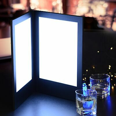 "LED 2 Panel Folding Black Lit Menu Holder Cover Pad 8.5x14"" Restaurant Cafe Club"