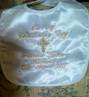 Personalised satin Christening bib white or ivory CROSS 2 COLOURS FREE POST