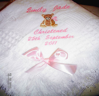 Personalised christening shawl teddy,hands.bible.cross in white FREE POSTAGE