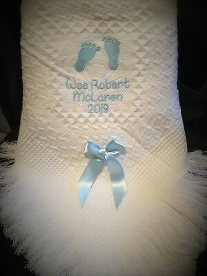 Personalised christening/new baby etc shawl Feet Design FREE POSTAGE pink/blue