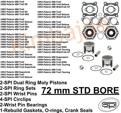 Polaris 500 488cc Indy Trail 72 mm STD Bore SPI Pistons Bearings Gasket Seals