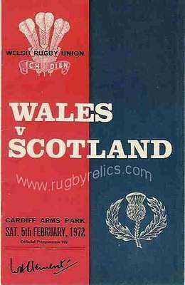 WALES v SCOTLAND 1972 RUGBY PROGRAMME 5 Feb, CARDIFF