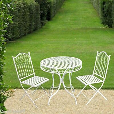 Shabby Chic Bistro Set Garden Furniture Set Metal Patio Garden Table and Chairs