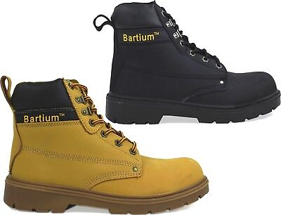 New Boxed Mens Leather Ankle Steel Toe Cap Lace Up Safety Boots Shoes Uk Sizes