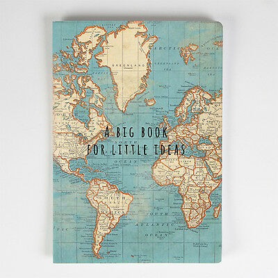 Sass and Belle A5 sized Notebook - Blue Vintage Map design, Plain paper