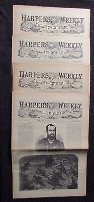 1861 Harper's Weekly Journal Newspaper Reissue LOT of 4 FN- 4/13 6/15 10/26 11/9