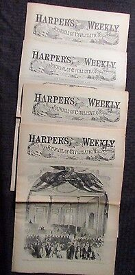 1861/62 Harper's Weekly Journal Newspaper Reissue LOT of 4 FN- 2/9 7/6 9/28 1/4