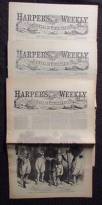 1861 Harper's Weekly Journal Newspaper Reissue LOT of 3 FN- 6/8 12/7 12/14