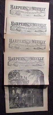 1861 Harper's Weekly Journal Newspaper Reissue LOT of 4 FN- 5/18 5/25 7/13 8/17