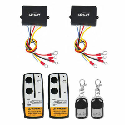 2 x Wireless Winch Remote Control Kit 12V 50ft for Truck Jeep SUV ATV