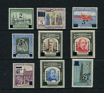 Colombia 1958/9  #685-93  SURCHARGED    9v.  MNH  G104