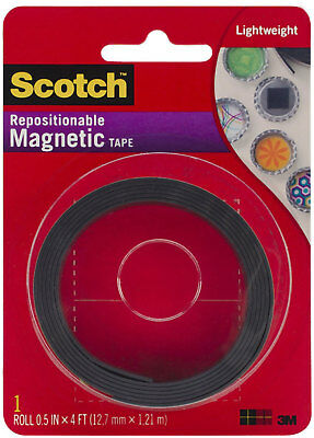 3M Scotch Repositionable Magnetic Tape Permanent Adhesive 0.5in x 4ft Roll