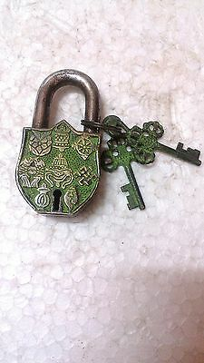 Vintage Old finish Traditional HandCarved Brass padlock/working /Unique Key