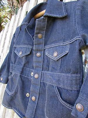 Vintage 70s toddler dark blue denim jeans jacket long cute style EUC 3 4 4T