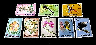 Singapore 1963 Birds & Flowers Issue Complete(8 Values)Very Fine Mint Lh
