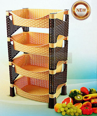 Stylish Galaxy HQ 4 Tier Plastic Fruit Vegetable Kitchen Storage Rack Trolley