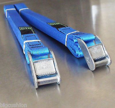 2-pack of 5m x 25mm Cam Buckle BLUE Endless Lashing 400kg; Cargo Straps