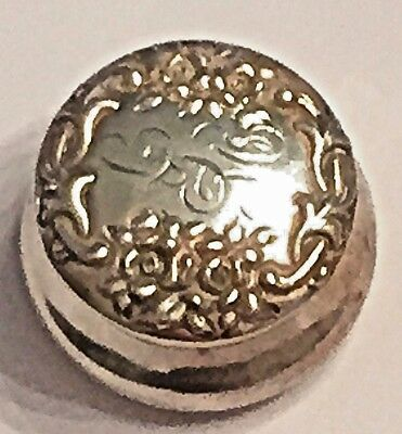 """Antique 2"""" All Sterling Silver Rouge Pot High Relief Floral Design"""