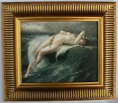 Nude Lady Framed Oleograph / Oilograph  F753#G  Reproduction Antiques  Art